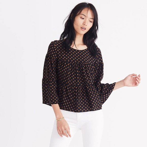 d04f750b270f2c Madewell Tops - Madewell Silk Tiered Back-Buttoned Hearts Blouse